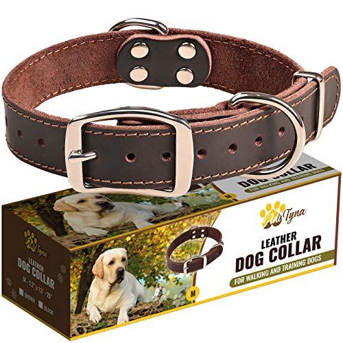 Leather Dog Collar for Medium Dogs - Heavy Duty Wide Dog...