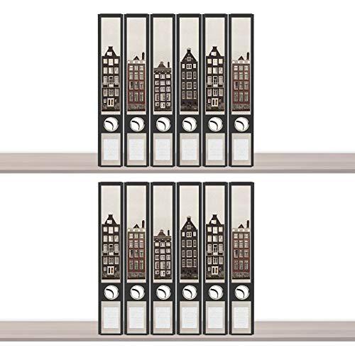 sendmoments Ordneretiketten, Fassaden, 12 Aufkleber für Ordnerrücken, selbstklebende Rückenschilder für schmale Ordner mit zusätzlich 18 Beschriftungs-Aufklebern
