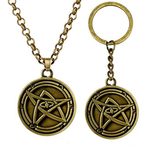 YUNMENG 2 pc Bijoux rétro Howard Phillips Lovecraft Cthulhu Mythos Porte-clés Collier à Travers Le Jeu Logo Pendentif Collier