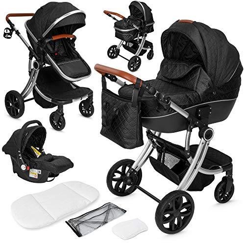 ib style® OLINA 3 in 1 Kinderwagen | Kombikinderwagen | inkl. Babyschale/Autositz | separater Buggy Aufsatz | ! Inkl. Matratze ! | 0-15kg | Schwarz