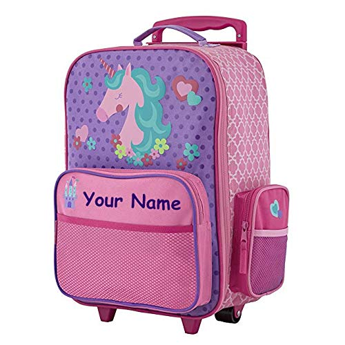 Stephen Joseph Personalized Unicorn Classic Rolling Luggage Suitcase Carry On Travel Bag - 14.5 Inches