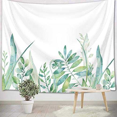 LB Watercolor Green Leaf Tapestry Wall Hanging Nature Plant Botanical Leaves Wall Art with White Backdrop Green Floral Tapestry for Bedroom Living Room Dorm Decor Art 40Wx60L
