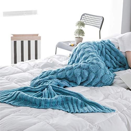 Manta de sirena de punto a mano, para sofá, aire acondicionado, se puede utilizar en sala de estar, dormitorio, oficina, lago azul 195 x 90 cm