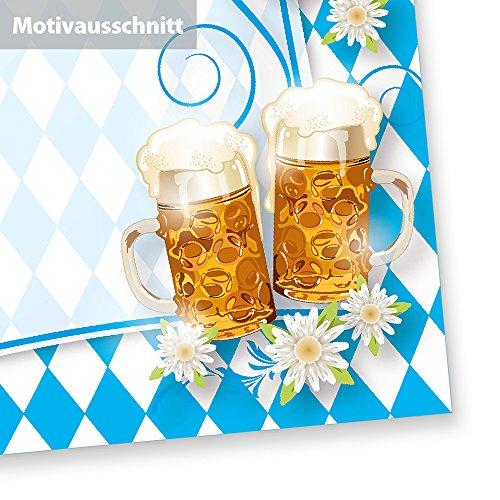 Briefpapier Oktoberfest (50 Stück) mit Rautenmuster Bayern, Bier und Brezeln für Einladung oder Speisekarten zum bayrischen Fest