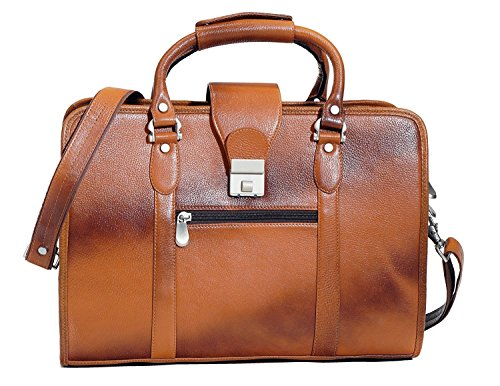 "ZN Genuine Leather Laptop Bag Briefcase Messenger Bag Fits 15.6"" Laptop for Women or Men - Special Black Friday Deal"