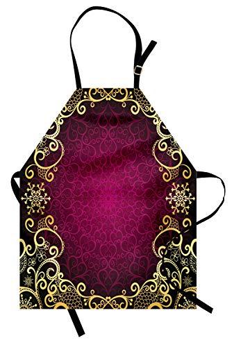 ABAKUHAUS Mandala Delantal de Cocina, Rizos Marco Púrpura, No Se Ensucian Fácilmente Moderna Tecnología de Estampado, Fucsia Negro Amarillo Pálido