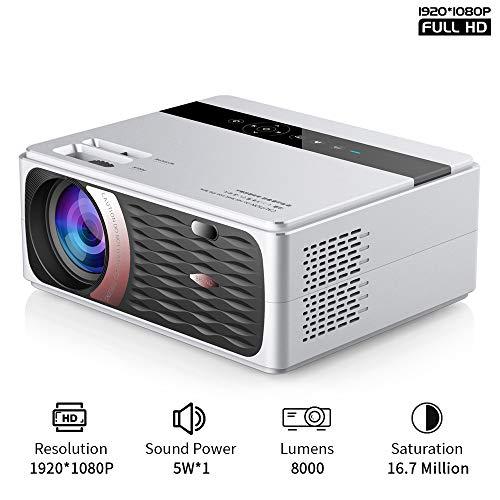 JASZW Filmprojektor, 55W HD 1080P Projektor 4K, 8000 Lumen bewegliches Film-Projektor, mit 40.000 Stunden LED-Lampen-Lebensdauer, kompatibel mit TV-Stick, PS4, HDMI, VGA, TF, AV- und USB