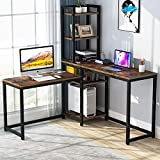 TEKAVO - L-Shaped Desk Computer Corner Desk, Home Office Double Desk, Gaming Desk with 5 Storage Shelves, 5 Tier Desk, Study Writing Table with Bookshelf for Home Office- Rustic Brown (150x150x171 cm)