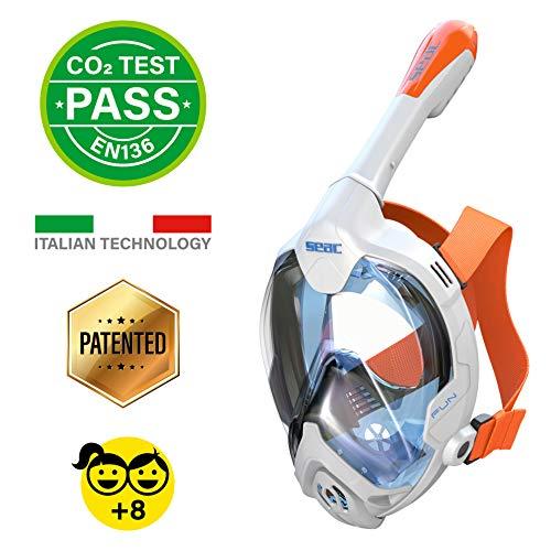 Seac Unisex-Youth Fun Vollgesichtsmaske Schnorchelmaske für Kinder 10+ und Erwachsene mit kleinen Gesichtern, Schnellspannschnallen, weiß/orange, XS-S