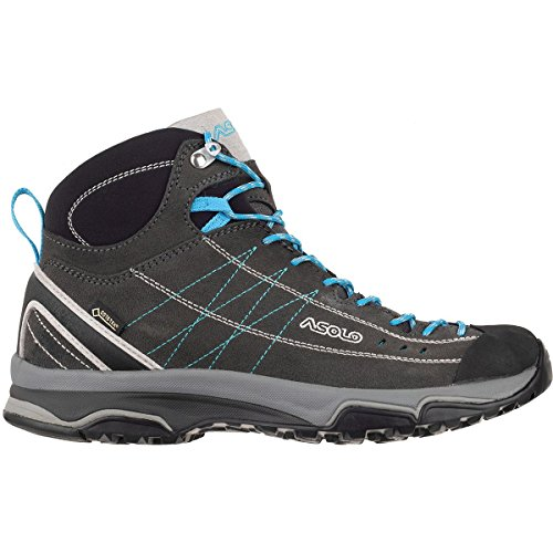 Asolo Women's Nucleon Mid GV Hiking Boot Graphite/Silver/Cyan Blue 10