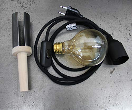 Flaschen Lampe (Textielkabel schwarz)