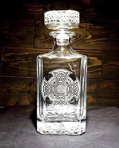 Celtic Knot Etched Crystal Whiskey Decanter