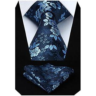 HISDERN Extra Long Floral Paislry Tie Handkerchief Men's Necktie & Pocket Square Set (Blue)