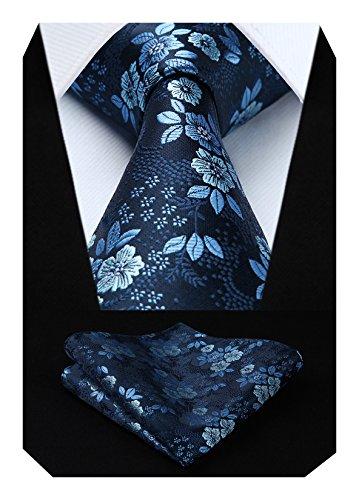 HISDERN Extra lange Blumen Paislry Krawatte Taschentuch Herren Krawatte & Pocket Square Set (Blau)