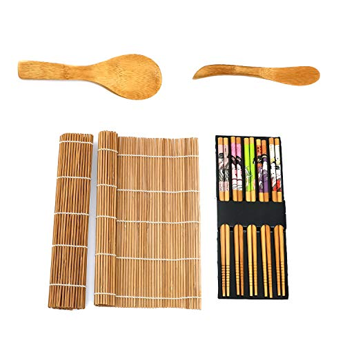 Sushi Making Kit Bamboo   Colorful, All Natural, Biodegradable Materials   2 Rolling Mats, Spoon and Knife Spreader for Meat and Rice   5 Pairs Chop Sticks Ornately Made   By Moon Mystique Home Decor