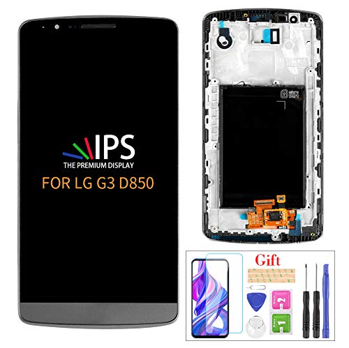 Compatible with LG G3 D850 LCD Display Screen Replacement,for LG G3 D850 D851 D855 VS985 LS990 Display LCD Panel Repair Parts Kit,with Tempered Glass+Tools + Black with Frame