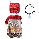 Moana Vaiana Kostüm, Verkleidung für Mädchen, Kinder, Halloween, Geburtstag, Urlaub, Cosplay, Kleidung Gr. 9-10 Jahre, Stil 1