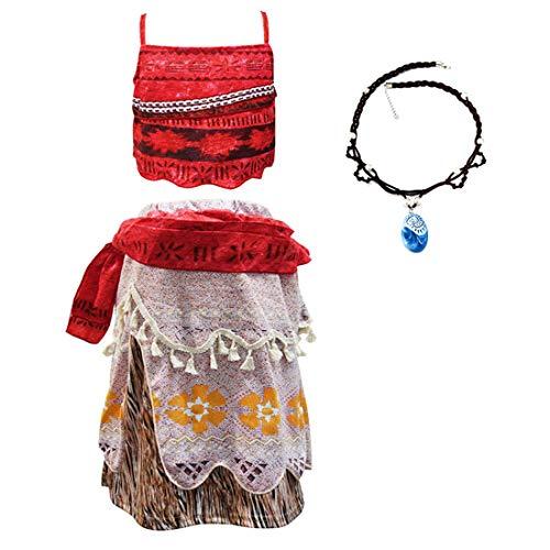 Thombase Moana Vaiana Traje de Princesa bebé niña Aventura Infantil para el Carnaval de Halloween Cosplay Ropa con Collar (Rojo-2, 5-6 año)