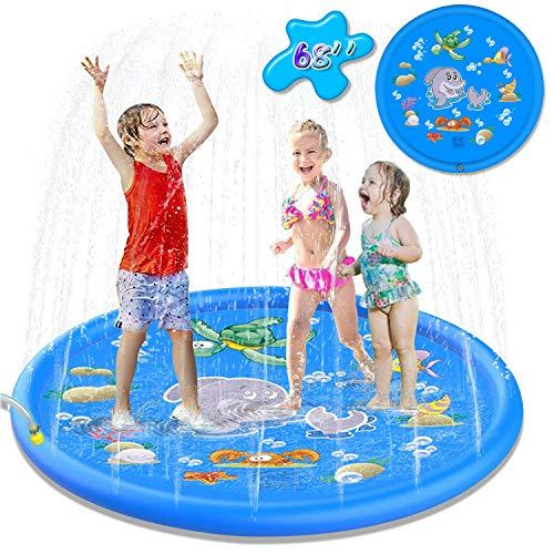 Creen Splash Pad, 170CM Anti-Rutsch Kinder Wasser Sprinkler Pad Sommer Garten Großes Wasserspielmatte Tiermotiv Bequeme Blasen Splash Play Matte für Familie