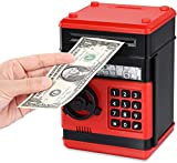 OBEST Caja de Contraseña Automática Hucha, Puede Almacenar Billetes y Monedas, Regalos de Cumpleaños para Niños (Negro y Rojo)
