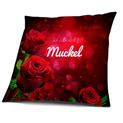 Kissen mit Füllung, Motiv Rosen mit Name Muckel, vollflächig bedruckt 40 x 40 cm, Namenskissen, Geschenkidee