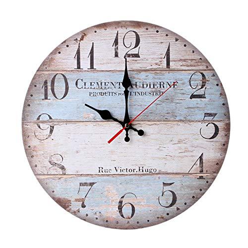 ZRSZ Reloj De Pared De Madera para El Hogar, Reloj De Cocina Nórdico Sin Tictac para La Cocina, El Hogar, La Sala De Estar Y El Dormitorio (12 Pulgadas   30 Cm)