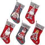 5Pcs Calcetín de Navidad sin Rostro para Anciano, Árbol de Navidad Chimenea Decoraciones Colgantes Calcetines Colgante Bolsa de Almacenamiento de Regalo de Caramelo para la decoración del ho