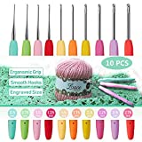 10pcs Small Size Lace Crochet Hooks (0.5~2.75mm), Ergonomic Crochet Hooks Set with Soft Grip Handle for Thread