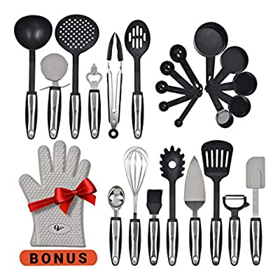 Kitchen Utensils 25 Pcs Set with Kitchen Tools and Kitchen Gadgets Made of Strong Stainless Steel and Nonstick Nylon - Heat Resistant - Everything You Need Cookware Set Plus Bonus Silicone Oven Glove from