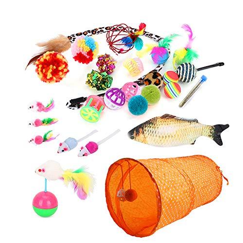 DingCheng Katzenspielzeug, Tunnel, Falsche Maus, Minzfisch, Ball, Federstab, Spielset, 28 Stück