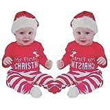 OVERDOSE Neugeborene Säuglingsbaby Mädchen Jungen *My First Halloween *Pumpkin Romper Kürbis Spielanzug Top + Hosen + Hut Halloween Kleidung Satz (0-3 Monate, Y-Rot1-Christmas)