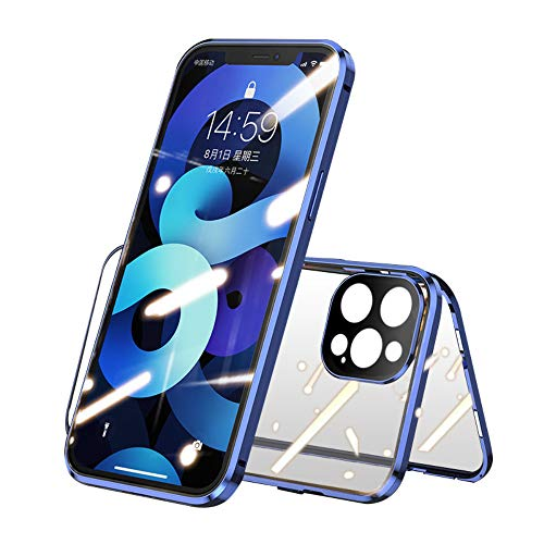 KMXDD Magnetic Case with Safety Lock for iPhone 11 Pro Max Double-Sided Glass 360° Full Body Cover Built-in Camera Lens Protector Lockable Bumper Case (11ProMax, Silver)