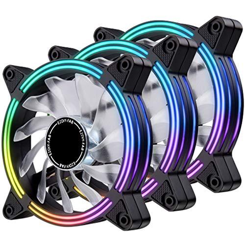 EZDIY-FAB Ventilador LED de 120 mm,Ventilador de Caja de Doble Marco LED para Cajas de PC,silencioso de Alto Flujo de Aire,enfriadores de CPU y radiadores,3-Pin-3-Pack