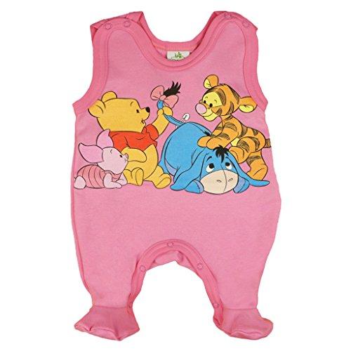 Baby-Strampler mit Füßchen Jungen oder Mädchen, ÄRMELLOS, Spiel-Anzug mit Druck-Knöpfen, Baby-Schlafanzug Winnie Pooh, Grösse 56, 62, 68, für Neugeborene in rosa, blau, weiß Size 62, Farbe Rosa