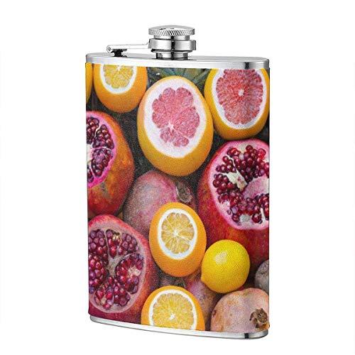 XBYC Granatapfel Grapefruit Edelstahl Likör Flagon Hüftflasche 8 Unzen, PU Leder Wrap, Reisetasche Flasche Geschenk