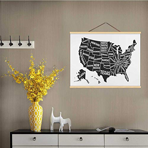 Hitecera United States of America map.Poster map USA with State Names.American Background.Vector Illustration USA,Magnet Print Posters Alabama - US State for Wall 16''W x 12''H