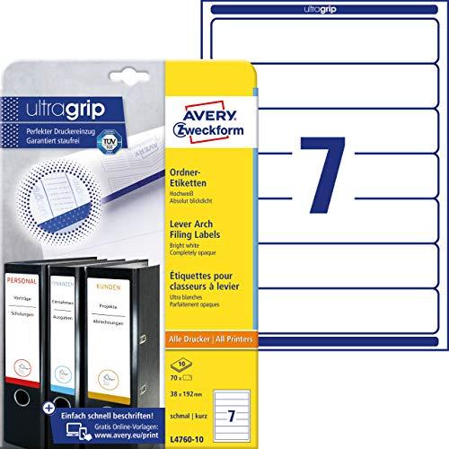 AVERY Zweckform L4760-10 Ordnerrücken Etiketten (mit ultragrip, 38 x 192 mm auf DIN A4, schmal/kurz, selbstklebend, blickdicht, bedruckbare Ordneretiketten, 70 Rückenschilder auf 10 Blatt) weiß