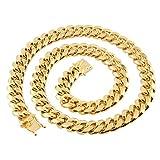 Aeici Collares Hombre Acero Inoxidable Ancho 18mm Cadena Cubana de Eslabones Collares Cadena de Hombre Oro 16 Inch