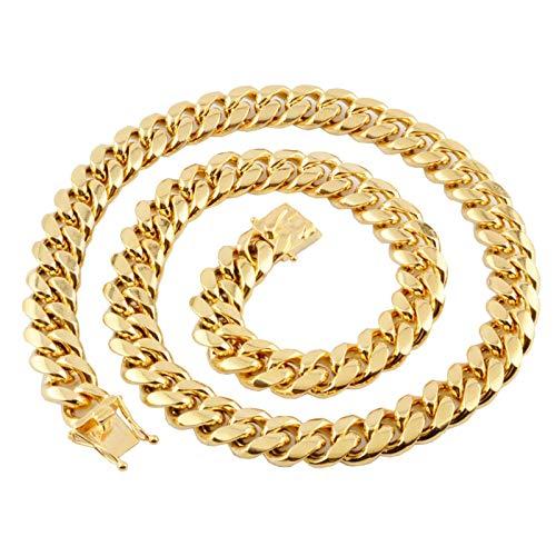 Aeici Acero Inoxidable Collares Hombre Hip Hop Ancho 14mm Cadena Cubana de Eslabones Collares Cadena Hombre Oro 20 Inch
