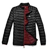 TAK Daunenjacke Herren Übergangsjacke Outdoor Leicht Down Jacket Casual Steppjacke mit Kapuze, Schwarz Rot, M