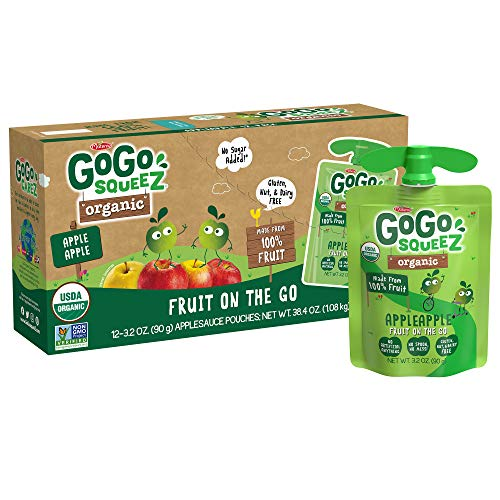 GoGo squeeZ Organic Fruit on the Go, Apple Apple, 3.2 oz. (12 Pouches) - Tasty Kids Applesauce Snacks Made from Organic Apples - Gluten Free Snacks For Kids - Nut & Dairy Free - Vegan Snacks