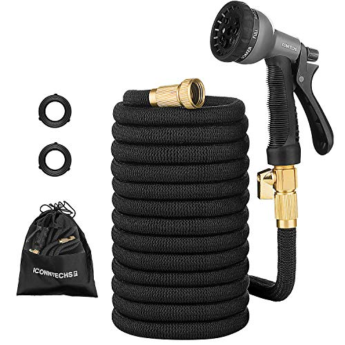 ICONNTECHS 50ft Expandable Garden Hose With Upgraded Double Core Latex, Solid Brass Fittings, Non-Kink, Extra Strength Fabric, Water Hose with Shut Off Valve, 8 Pattern Functions Spray Nozzle