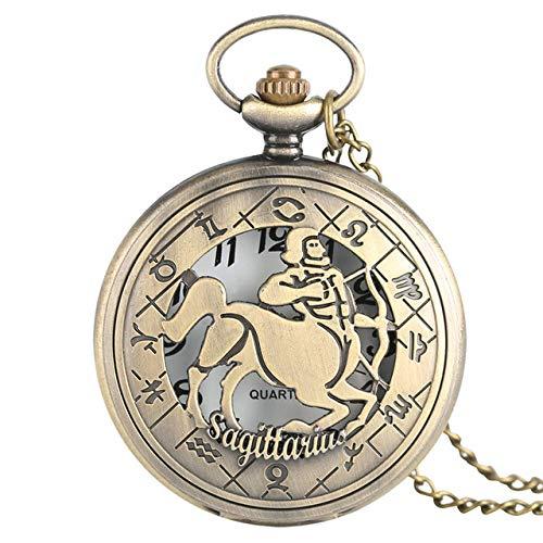 IOMLOP Reloj de bolsillo12 Constelación Astrología Zodíaco Reloj de Bolsillo Retro Collar de Bronce Colgante Hombres Mujeres Cubierta abatible Hueca Cuarzo, Sagitario
