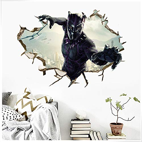 Hbbhbb Kinderzimmer 3D-Wandpaste Kinderzimmer Marvel Black Panther Wand Aufkleber Hero League Dekorative Malerei 70 X 50cm