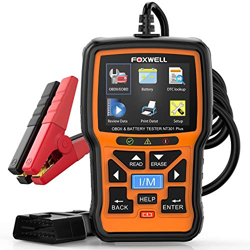 FOXWELL NT301 Plus OBD2 Scanner & 12V Battery Tester, [2021 New Version] 2 in 1 Diagnostic Tool EOBD OBDII Scan Tools, O2 Smog Test Automotive Scanner, Check Engine Code Reader for All OBDII Cars