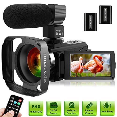 Ultra HD Video Camera Camcorder with Microphone 1080P 30FPS 24MP Vlogging Digital Camera with Lens...