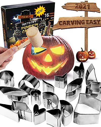 2021 Pumpkin Carving Kit with Hammer Safe for kids, Halloween Pumpkin Carving Tools, Durable Stainless Steel Non-knife Pumpkin Carving Stencils, Pumpkin Carving Set for Adults, 16 PCS