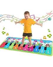 Fascol Tapis Musical Piano, Tapis de Jeu de Danse pour Enfants , Instrument Touch Jeu Clavier pour Enfants avec 8 Instruments, 10 démos ,garçons et Filles