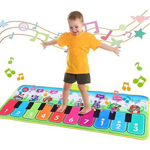 Fascol Piano Matte, Musikmatte für Kinder ab 1-5 Jahre, Klaviermatte, Tanzmatte Kinder mit 8 Musikinstrumente und 19 Tasten, Lernspielzeug für Kleinkinder, Bunt (130 X 50 cm)