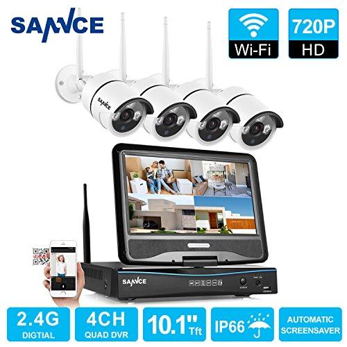 SANNCE KIT NVR 4 Canali 720P Video Sorveglianza Videoregistratore IR Telecamere di Sicurezza H.264 Impermeabile IP66 Sistema di CCTV Kit di Sorveglianza con 10,1' LCD Monitor
